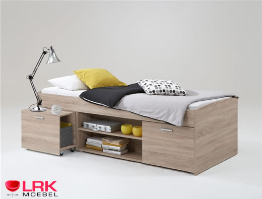 einzelbett carlo bett fmd mit stauraum kinderbett 90 x 200. Black Bedroom Furniture Sets. Home Design Ideas
