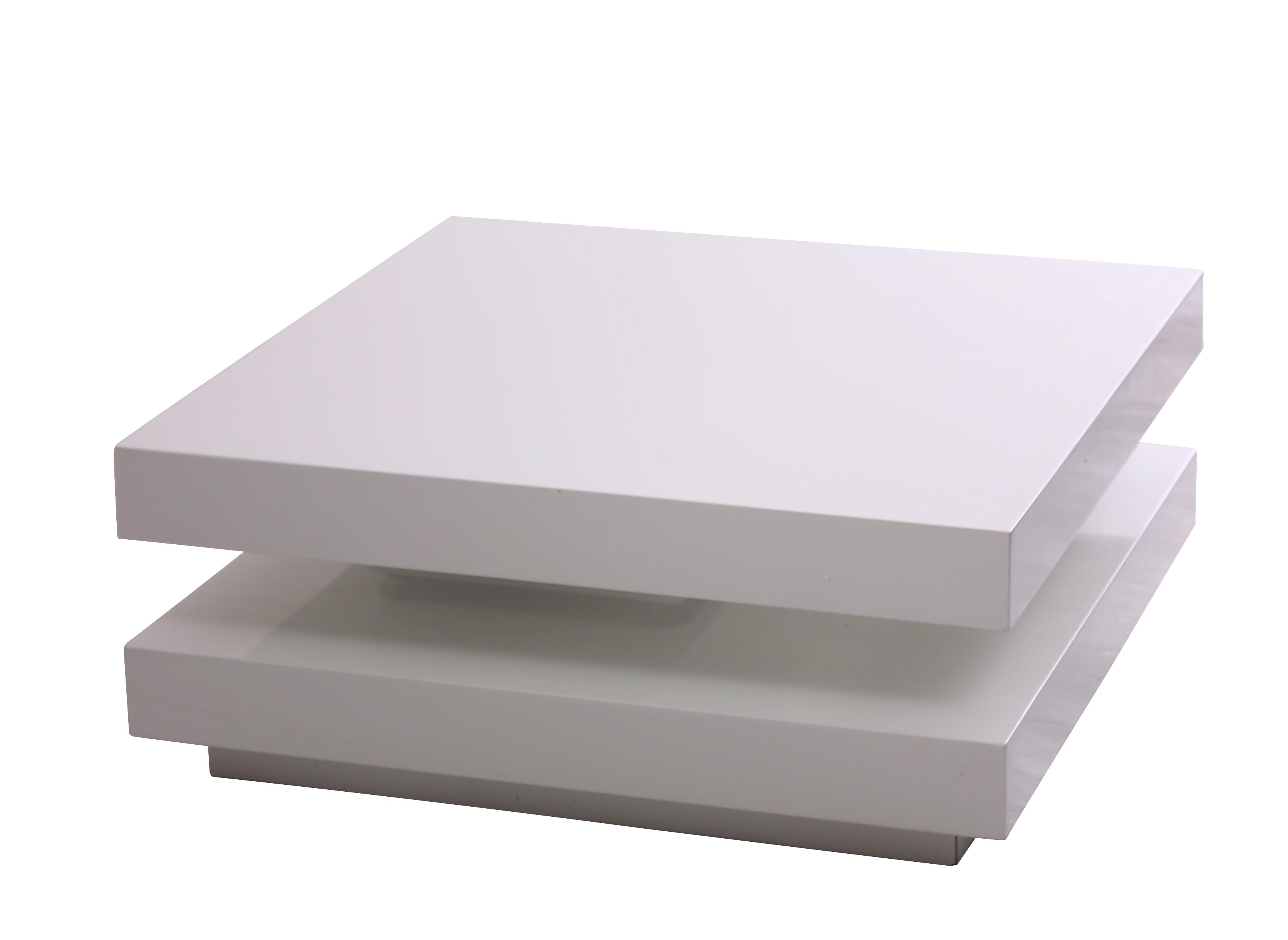 Couchtisch Modular weiß Hochglanz 75x75cm mit 2 Ebenen