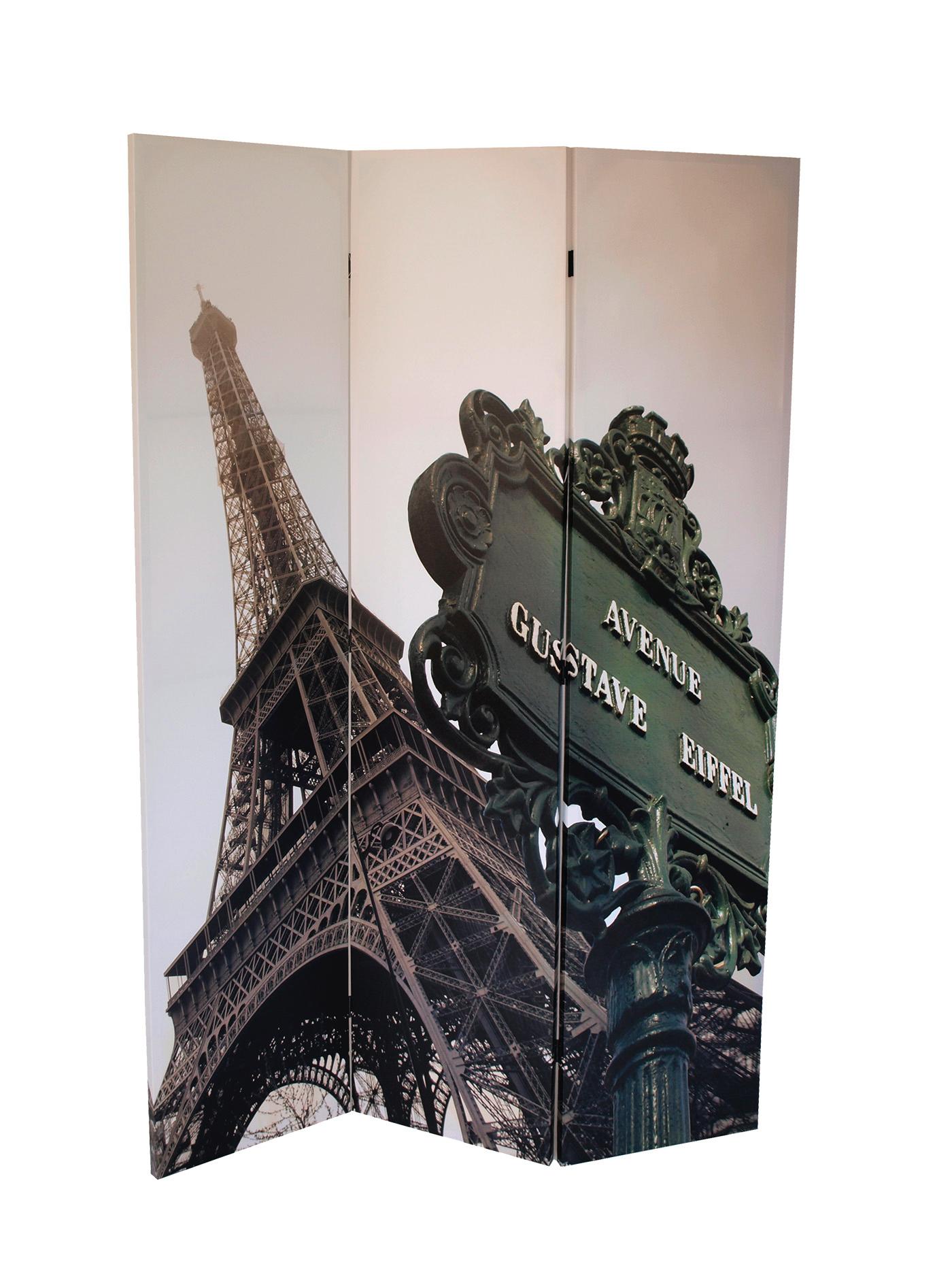 paravent eiffelturm 3 teilig bedruckte leinwand raumteiler. Black Bedroom Furniture Sets. Home Design Ideas