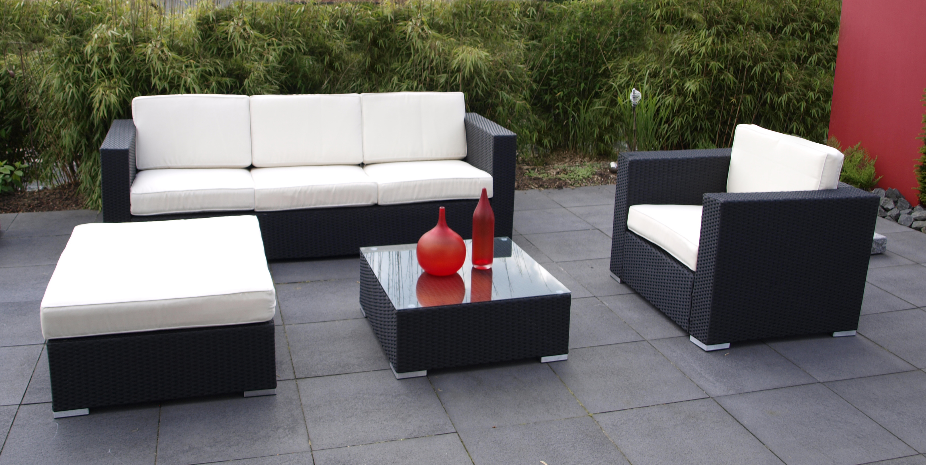 lounge set livorno 4 teilig garten terrasse balkon garnitur sitzgruppe m bel ebay. Black Bedroom Furniture Sets. Home Design Ideas