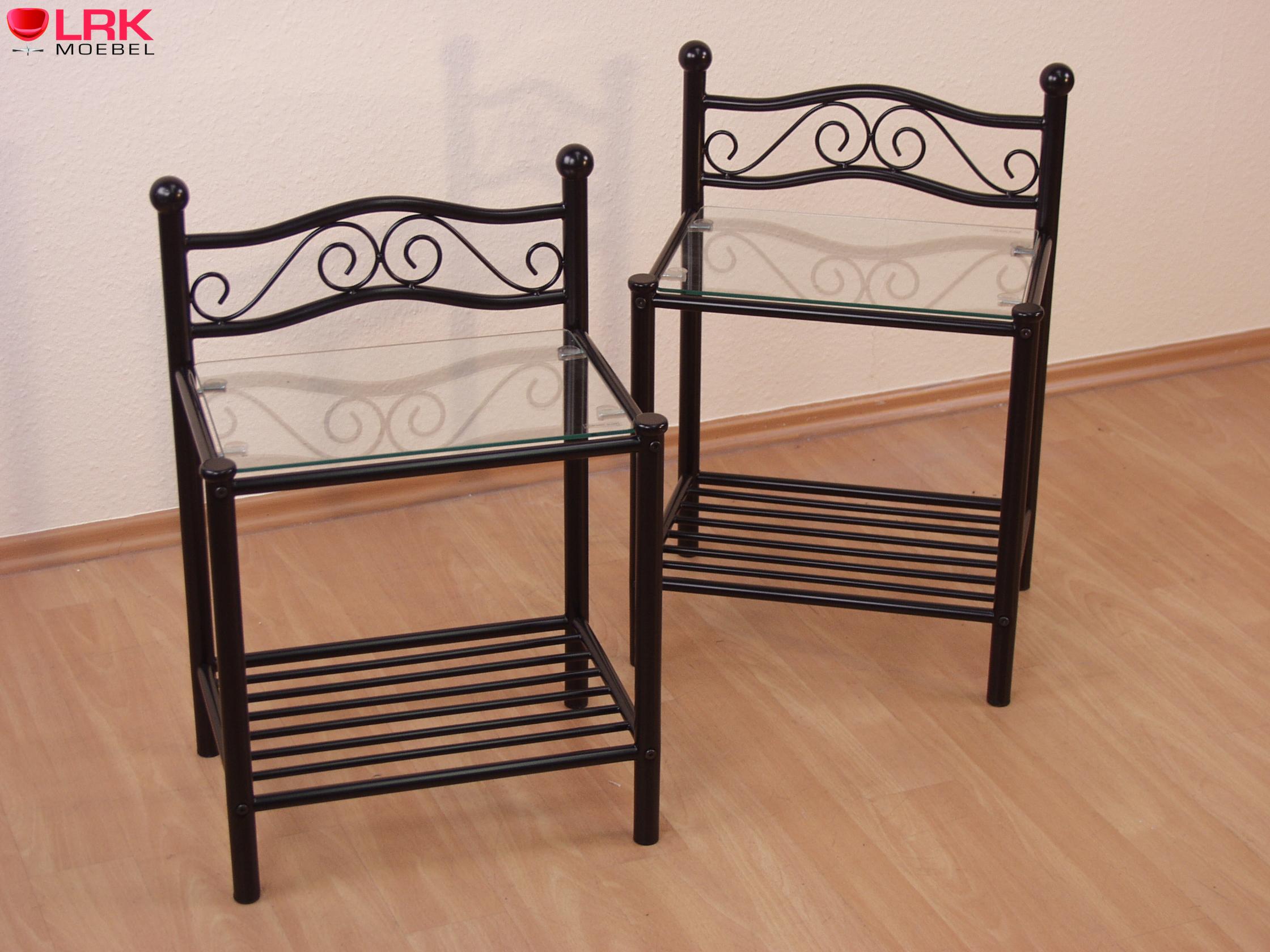 nachtkonsole bettkonsole bett konsole nachttisch metall in 2 farben nachtschrank ebay. Black Bedroom Furniture Sets. Home Design Ideas
